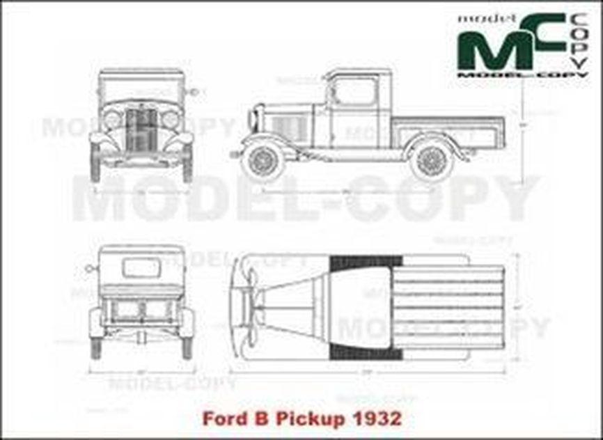 Ford B Pickup (1932) - 2D drawing (blueprints)
