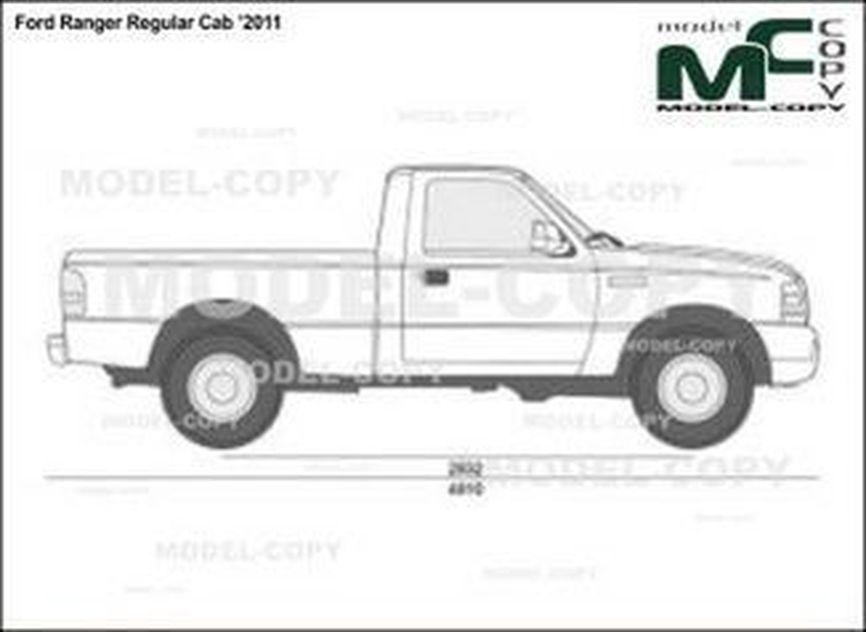 Ford Ranger Regular Cab '2011 - 2D drawing (blueprints)