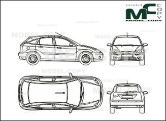 Ford Focus, 5 doors (2003) - drawing