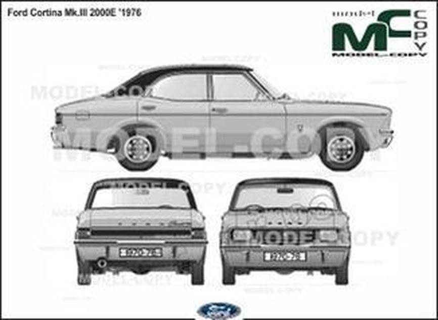 Ford Cortina Mk.III 2000E '1976 - 2D drawing (blueprints)