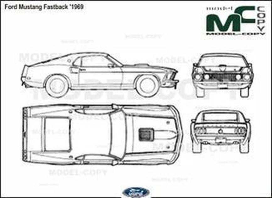 ford mustang fastback  u0026 39 1969 - piirustus - 40441
