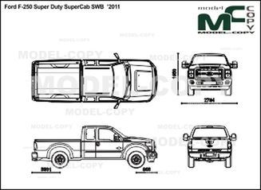 Ford F-250 Super Duty SuperCab SWB '2011 - 2D drawing (blueprints)