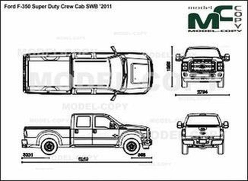 Ford F-350 Super Duty Crew Cab SWB '2011 - 2D drawing (blueprints)