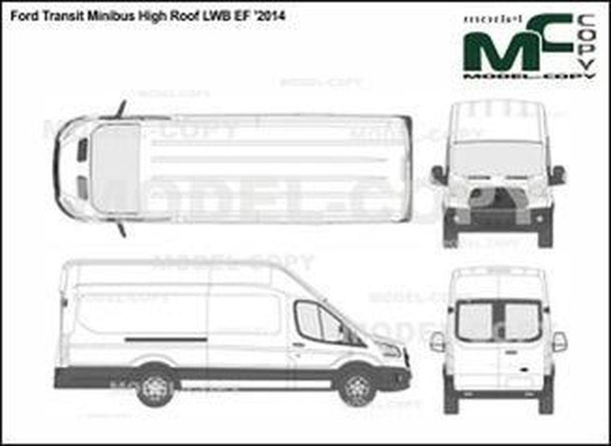 Ford Transit Minibus High Roof LWB EF '2014 - 2D drawing (blueprints)