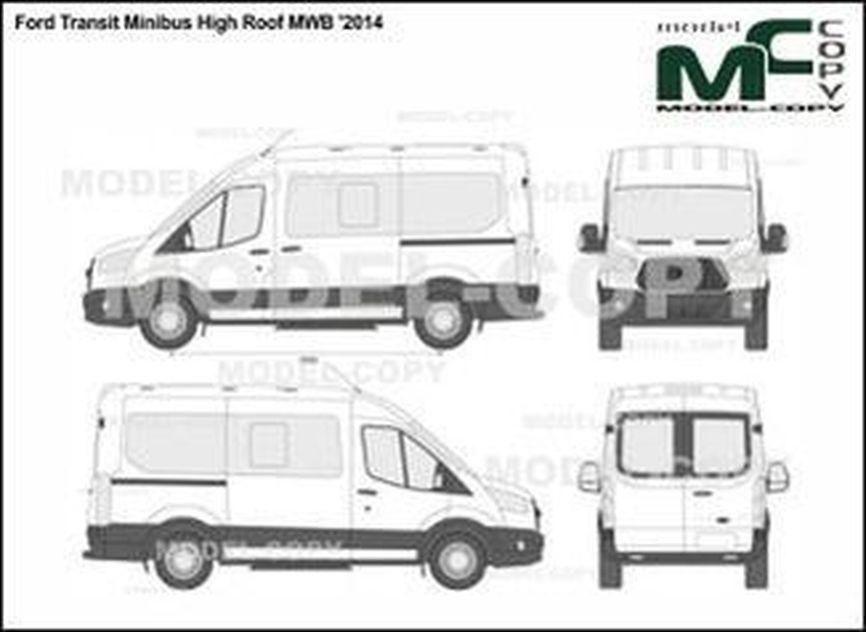 Ford Transit Minibus High Roof MWB '2014 - 2D drawing (blueprints)