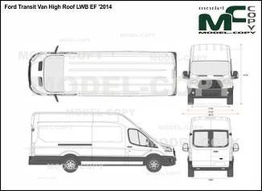 Ford Transit Van High Roof LWB EF '2014 - 2D drawing (blueprints)
