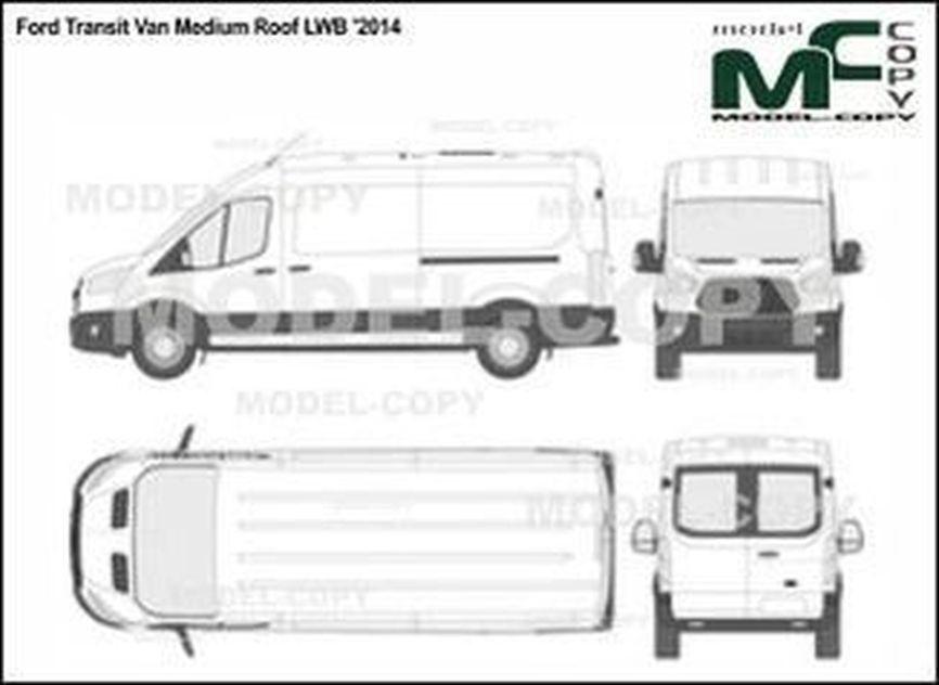 Ford Transit Van Medium Roof LWB '2014 - 2D drawing (blueprints)