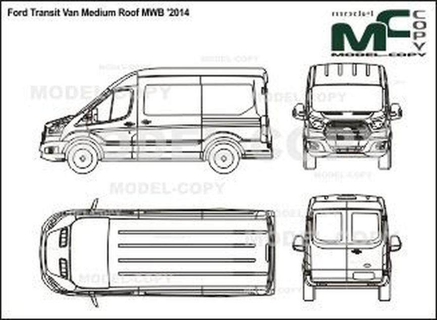 Ford Transit Van Medium Roof MWB '2014 - 2D drawing (blueprints)