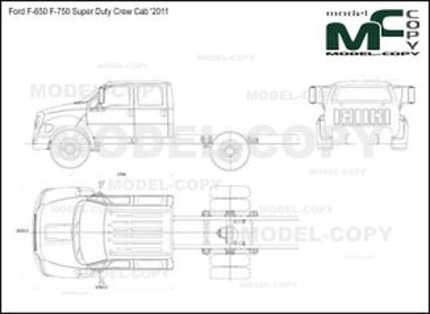 Ford F-650 F-750 Super Duty Crew Cab '2011 - 2D drawing (blueprints)