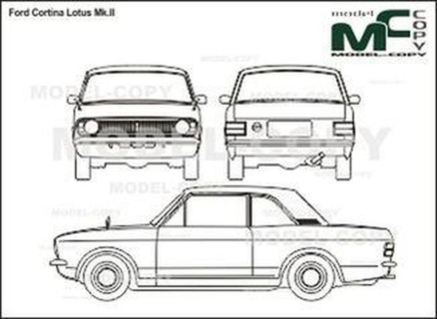 Ford Cortina Lotus Mk.II - 2D-ritning