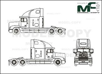 Freightliner FLD 120 Conventional,  70-inch sleeper - drawing