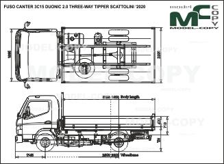 FUSO CANTER 3C15 DUONIC 2.0 THREE-WAY TIPPER SCATTOLINI '2020 - чертеж