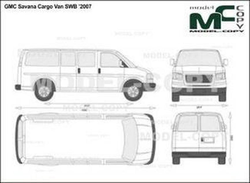 GMC Savana Cargo Van SWB '2007 - 2D drawing (blueprints)