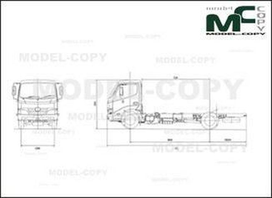 HINO 300 Series Regular Cab - 2D drawing (blueprints)