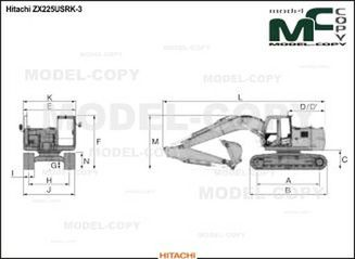 Hitachi ZX225USRK-3 - 2D drawing (blueprints)