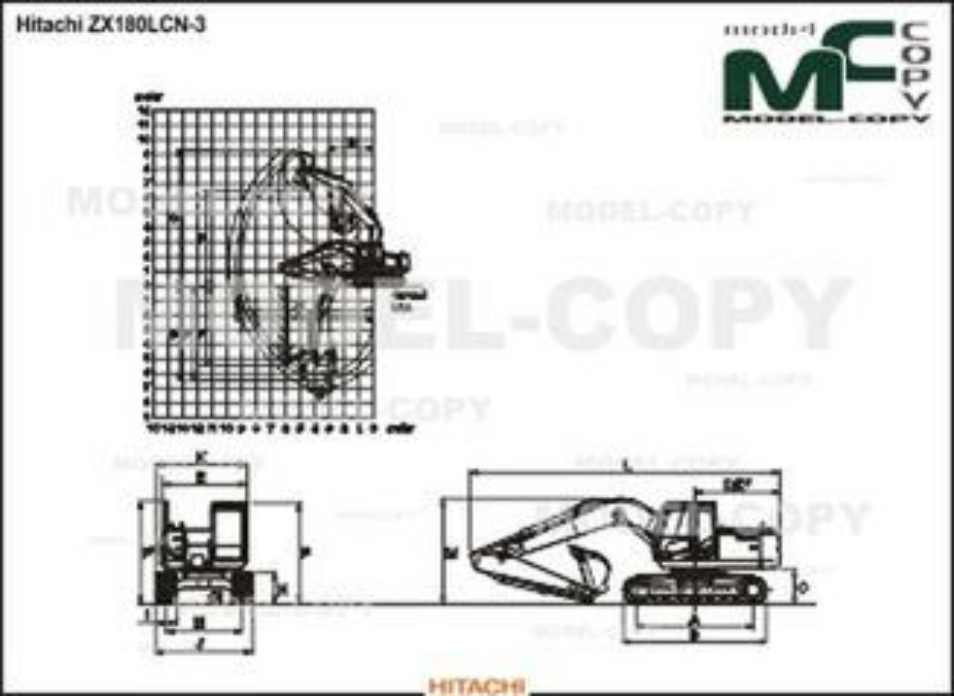 Hitachi ZX180LCN-3 - 2D drawing (blueprints)