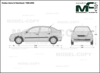 Holden Astra G Hatchback '1998-2005 - 2D drawing (blueprints)