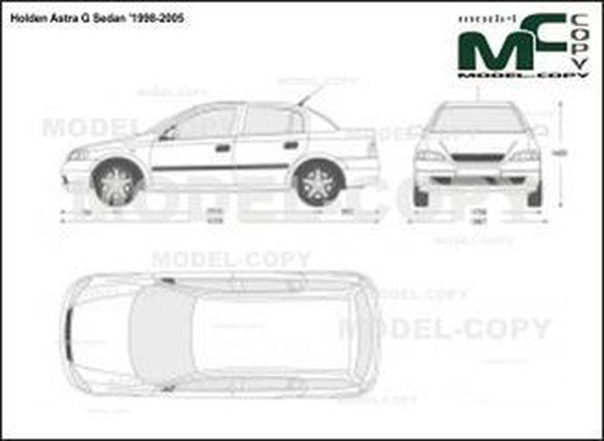Holden Astra G Sedan '1998-2005 - 2D drawing (blueprints)