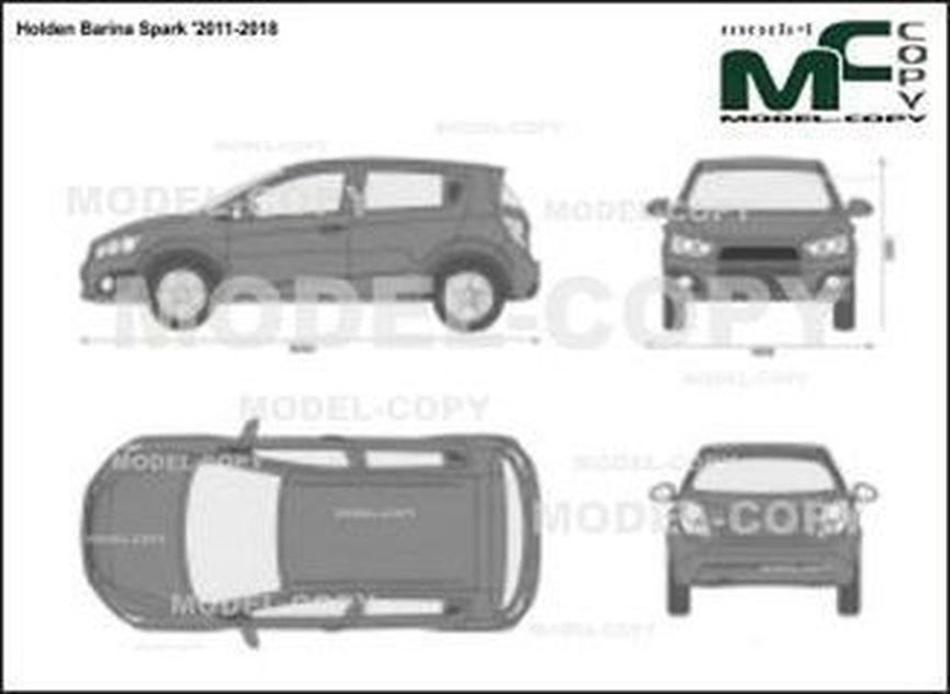 Holden Barina Spark '2011-2018 - 2D-чертеж