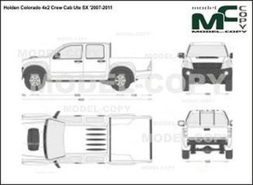 Holden Colorado 4x2 Crew Cab Ute SX '2007-2011 - 2 डी ड्राइंग