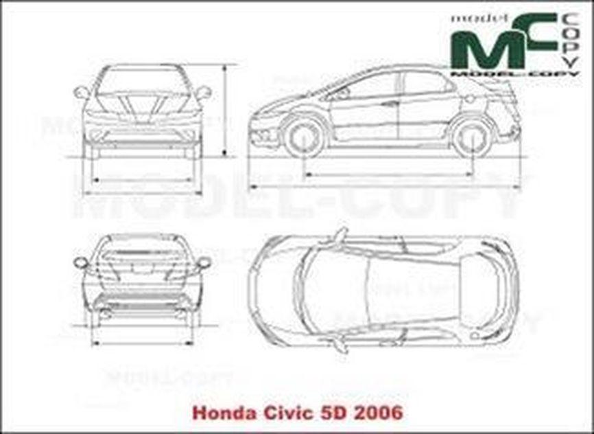 Honda Civic 5Doors (2006) - 2D drawing (blueprints)