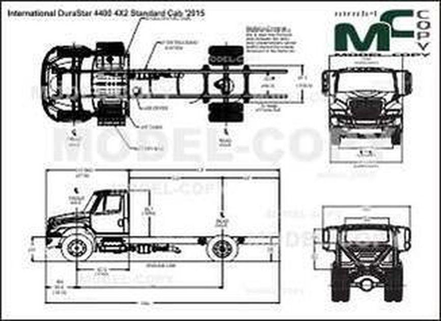 International DuraStar 4400 4X2 Standard Cab '2015 - 2D drawing (blueprints)