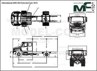 International DuraStar 4400 4X2 Extended Cab '2015 - 2D drawing (blueprints)