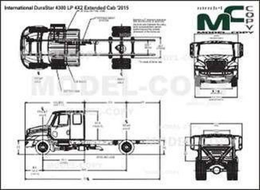 International DuraStar 4300 LP 4X2 Extended Cab '2015 - 2D drawing (blueprints)