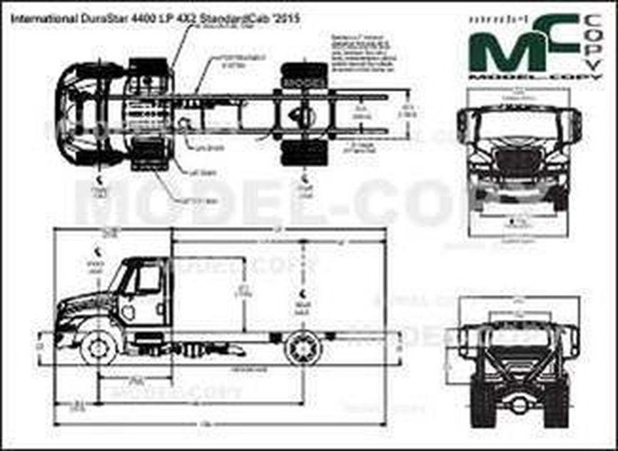 International DuraStar 4400 LP 4X2 StandardCab '2015 - 2D drawing (blueprints)