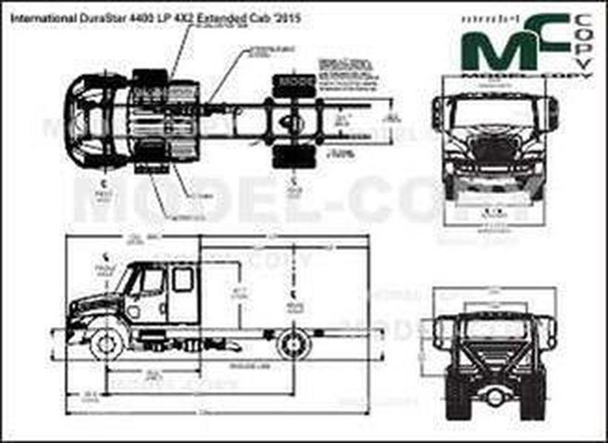 International DuraStar 4400 LP 4X2 Extended Cab '2015 - 2D drawing (blueprints)