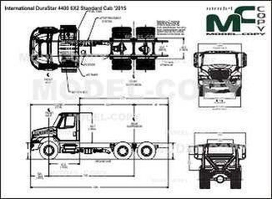 International DuraStar 4400 6X2 Standard Cab '2015 - 2D drawing (blueprints)