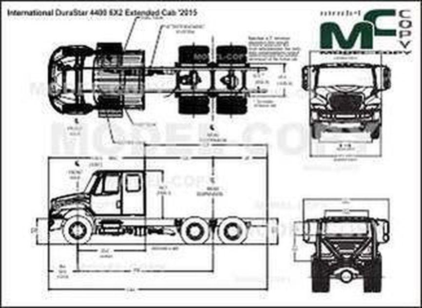 International DuraStar 4400 6X2 Extended Cab '2015 - 2D drawing (blueprints)