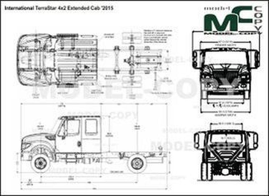 International TerraStar 4x2 Extended Cab '2015 - 2D drawing (blueprints)