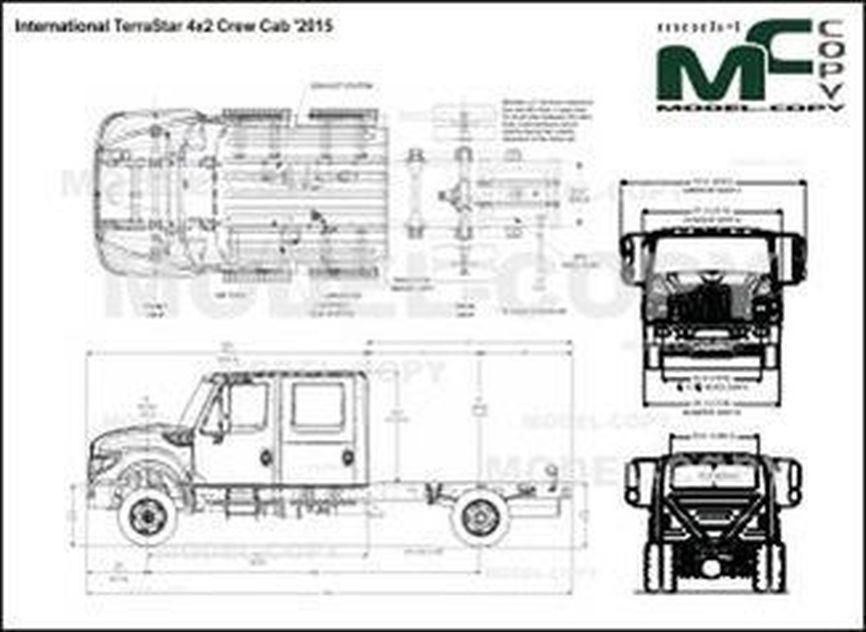 International TerraStar 4x2 Crew Cab '2015 - 2D drawing (blueprints)
