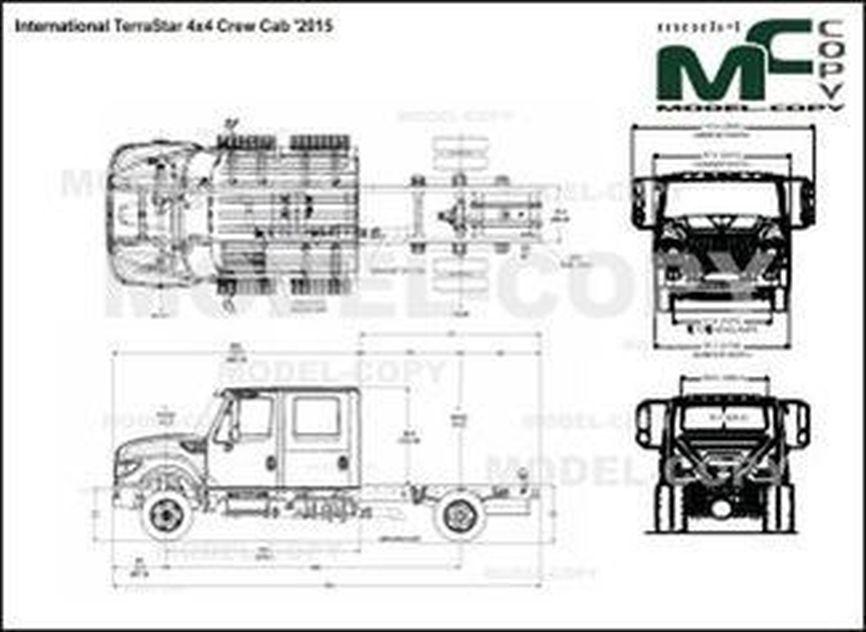 International TerraStar 4x4 Crew Cab '2015 - 2D drawing (blueprints)