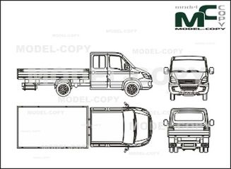 Iveco Daily 45C, bunk, double cabin (2006) - 2D drawing (blueprints)