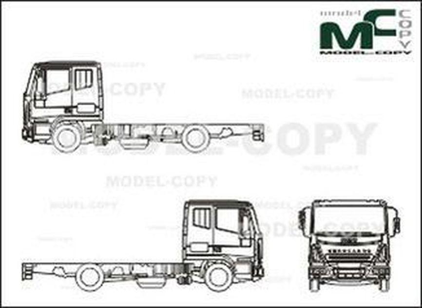 Iveco Eurocargo ML 140 EL 21, chassis, Remote Driver's cab (2005) - 2D drawing (blueprints)