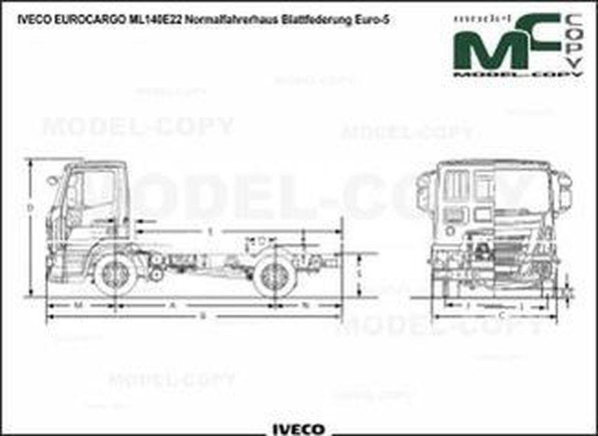 IVECO EUROCARGO ML140E22 Normalfahrerhaus Blattfederung Euro-5 - drawing