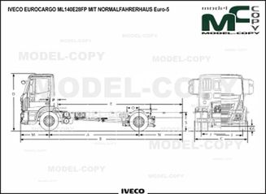 IVECO EUROCARGO ML140E28FP MIT NORMALFAHRERHAUS Euro-5 - 2D drawing (blueprints)