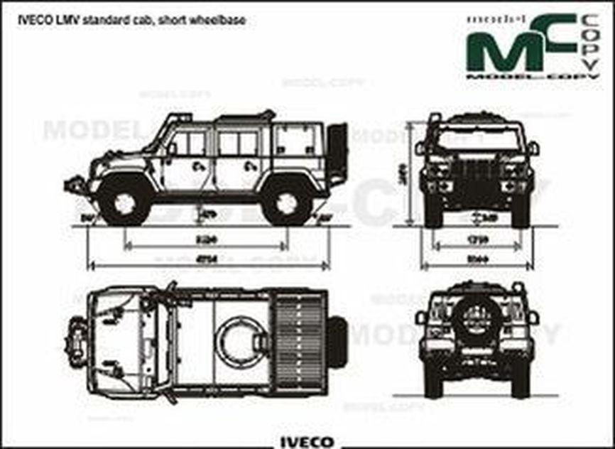 IVECO LMV standard cab, short wheelbase - 2D drawing (blueprints)