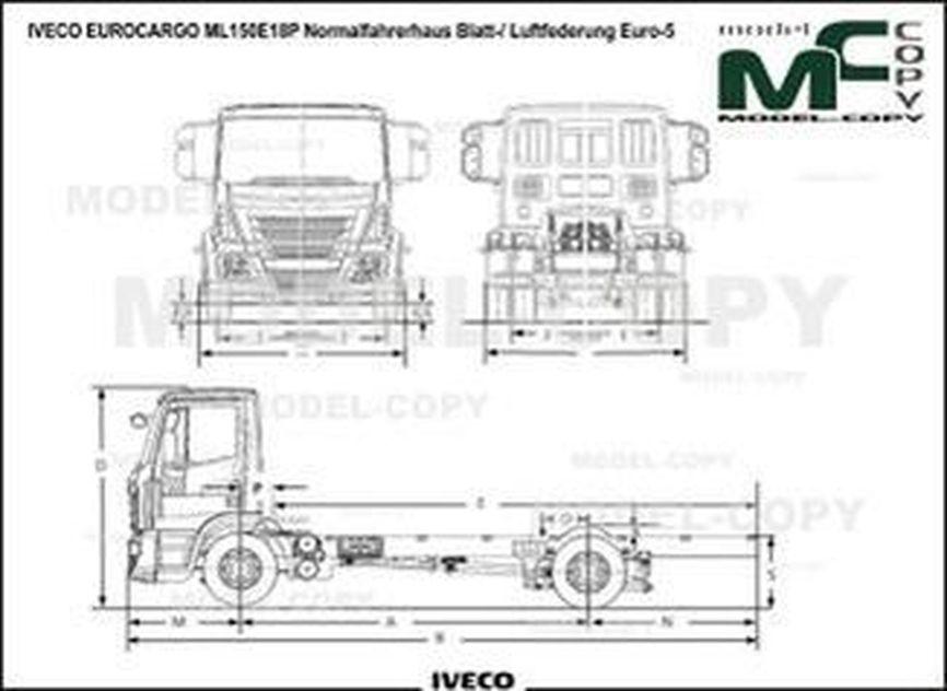 IVECO EUROCARGO ML150E18P Normalfahrerhaus Blatt-/ Luftfederung Euro-5 - drawing