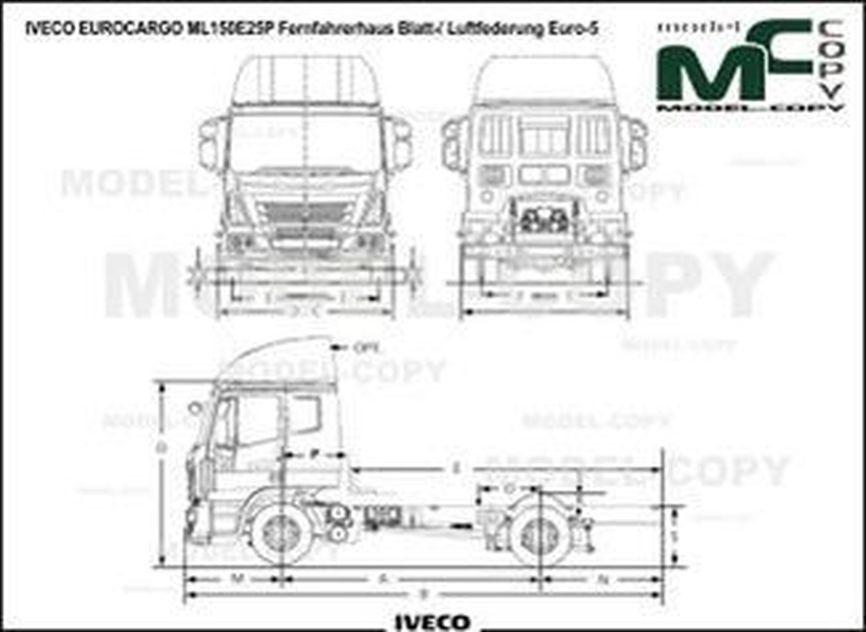 IVECO EUROCARGO ML150E25P Fernfahrerhaus Blatt-/ Luftfederung Euro-5 - drawing