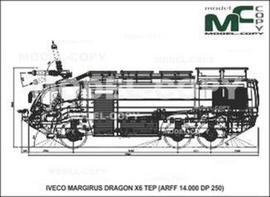IVECO-MAGIRUS DRAGON X6 TEP (ARFF 14.000 DP 250) - 2D drawing (blueprints)