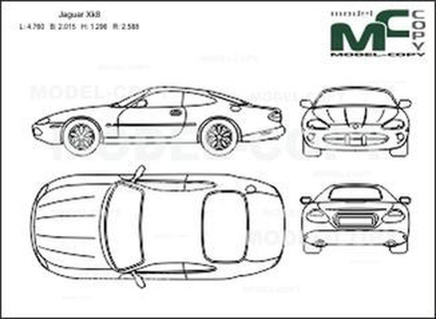 Jaguar Xk8 2d Drawing Blueprints 21037 Model Copy English
