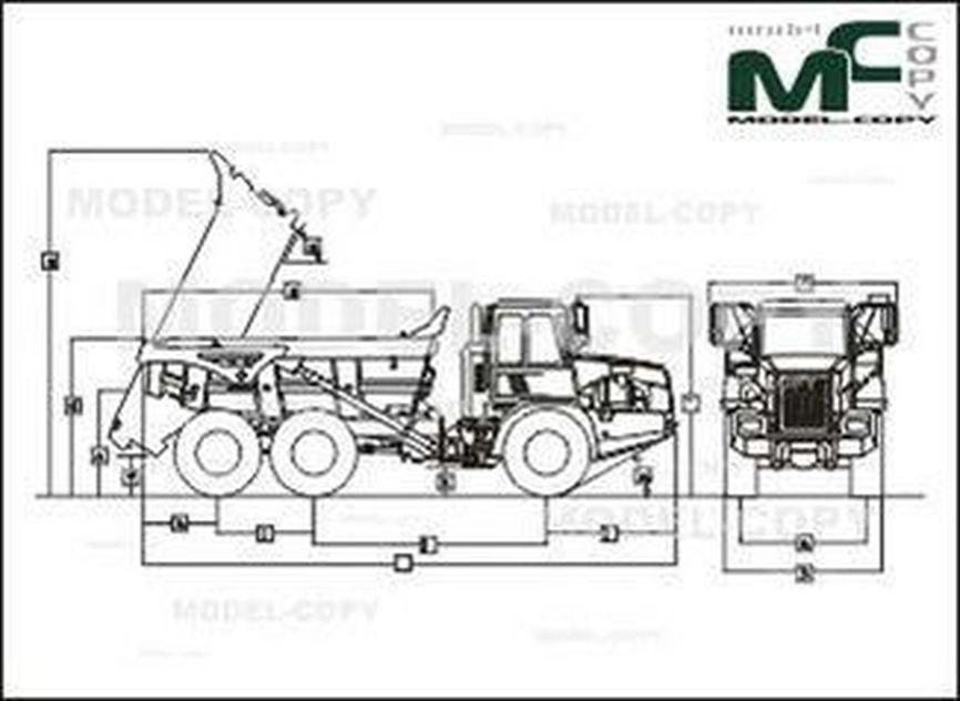 John Deere 250D-II ADTs - 2D drawing (blueprints)