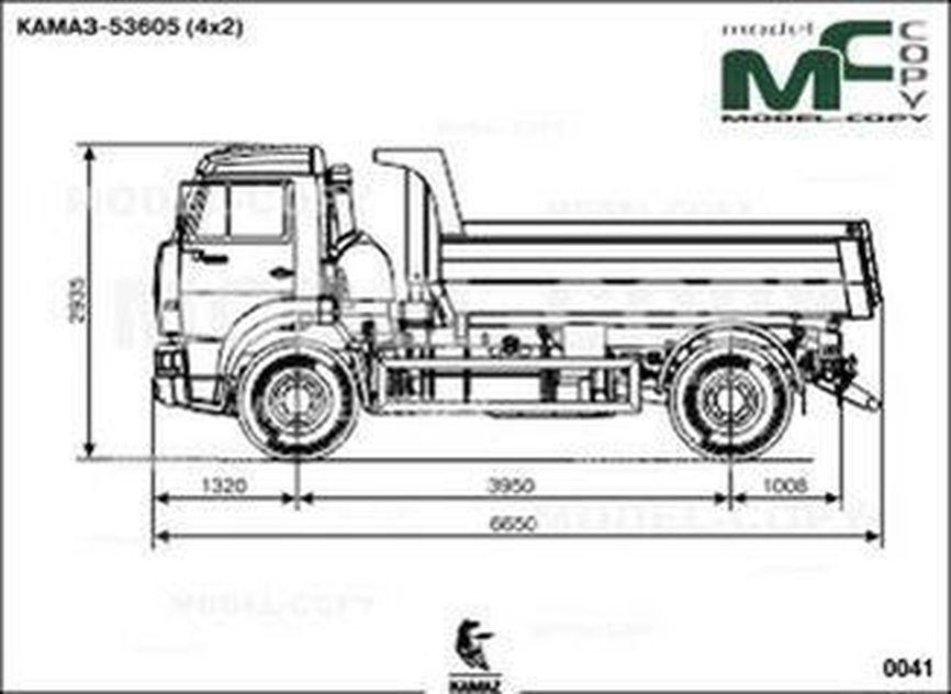 KAMAZ-53605 (Dump truck) - 2D drawing (blueprints)