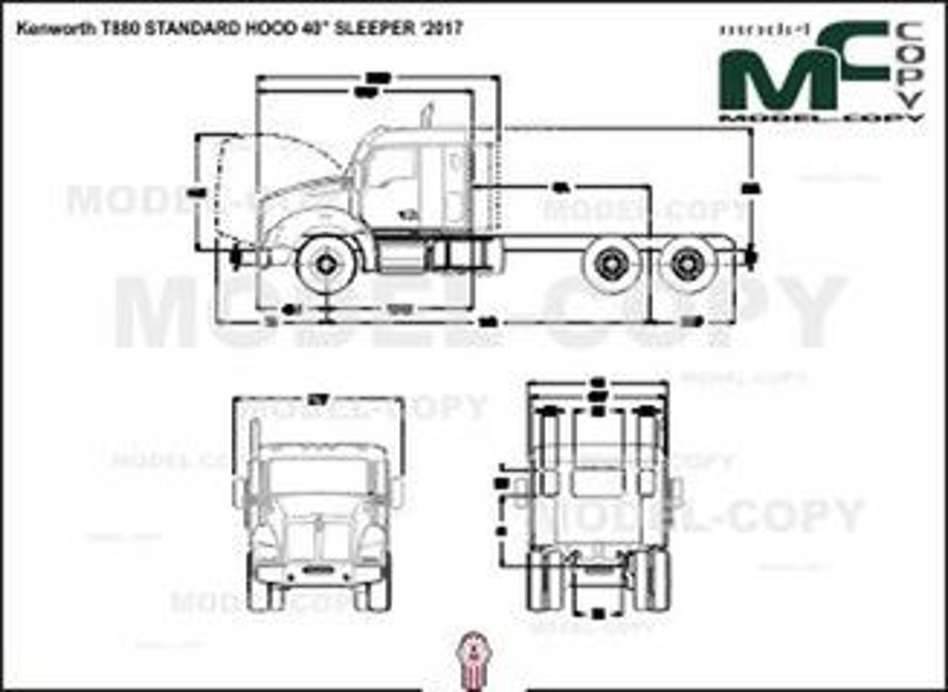 "Kenworth T880 STANDARD HOOD 40"" SLEEPER '2017 - drawing"