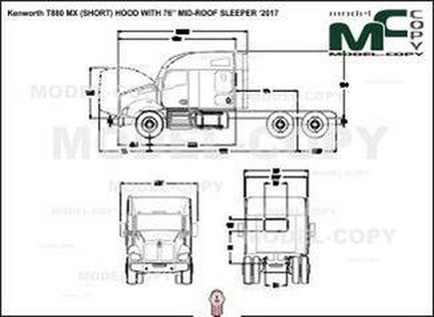 "Kenworth T880 MX (SHORT) HOOD WITH 76"" MID-ROOF SLEEPER '2017 - bản vẽ"