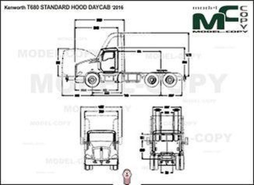 Kenworth T680 STANDARD HOOD DAYCAB '2016 - 2D drawing (blueprints)