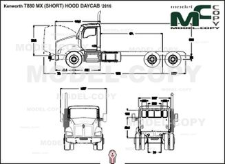 Kenworth T880 MX (SHORT) HOOD DAYCAB '2016 - 2D drawing (blueprints)